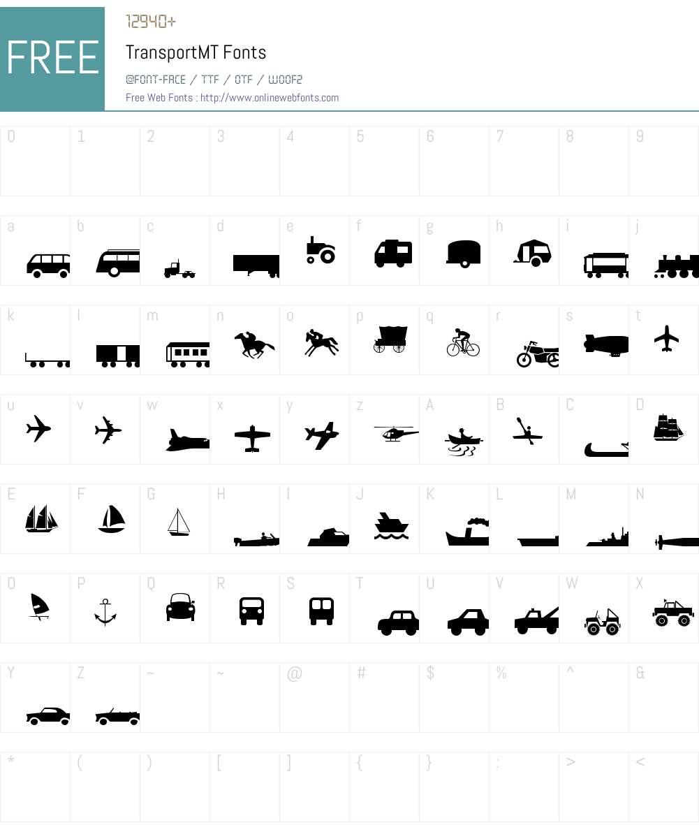 Transport MT Font Screenshots