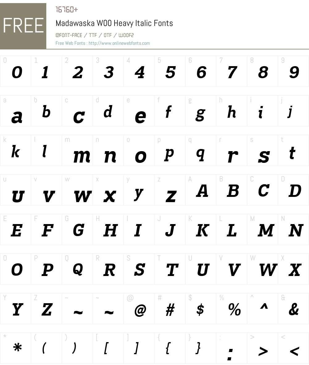 MadawaskaW00-HeavyItalic Font Screenshots