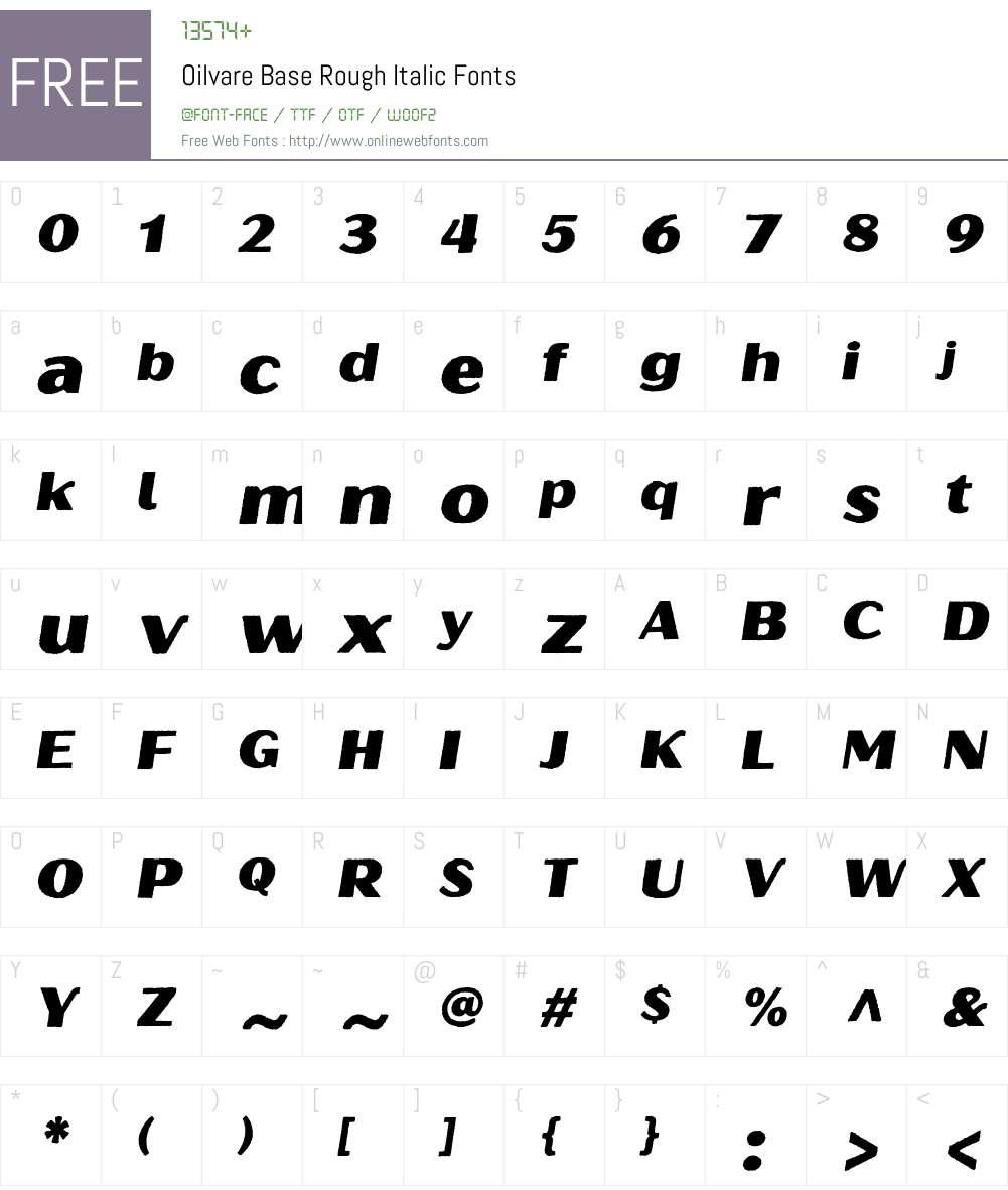OilvareBaseRough-Italic Font Screenshots