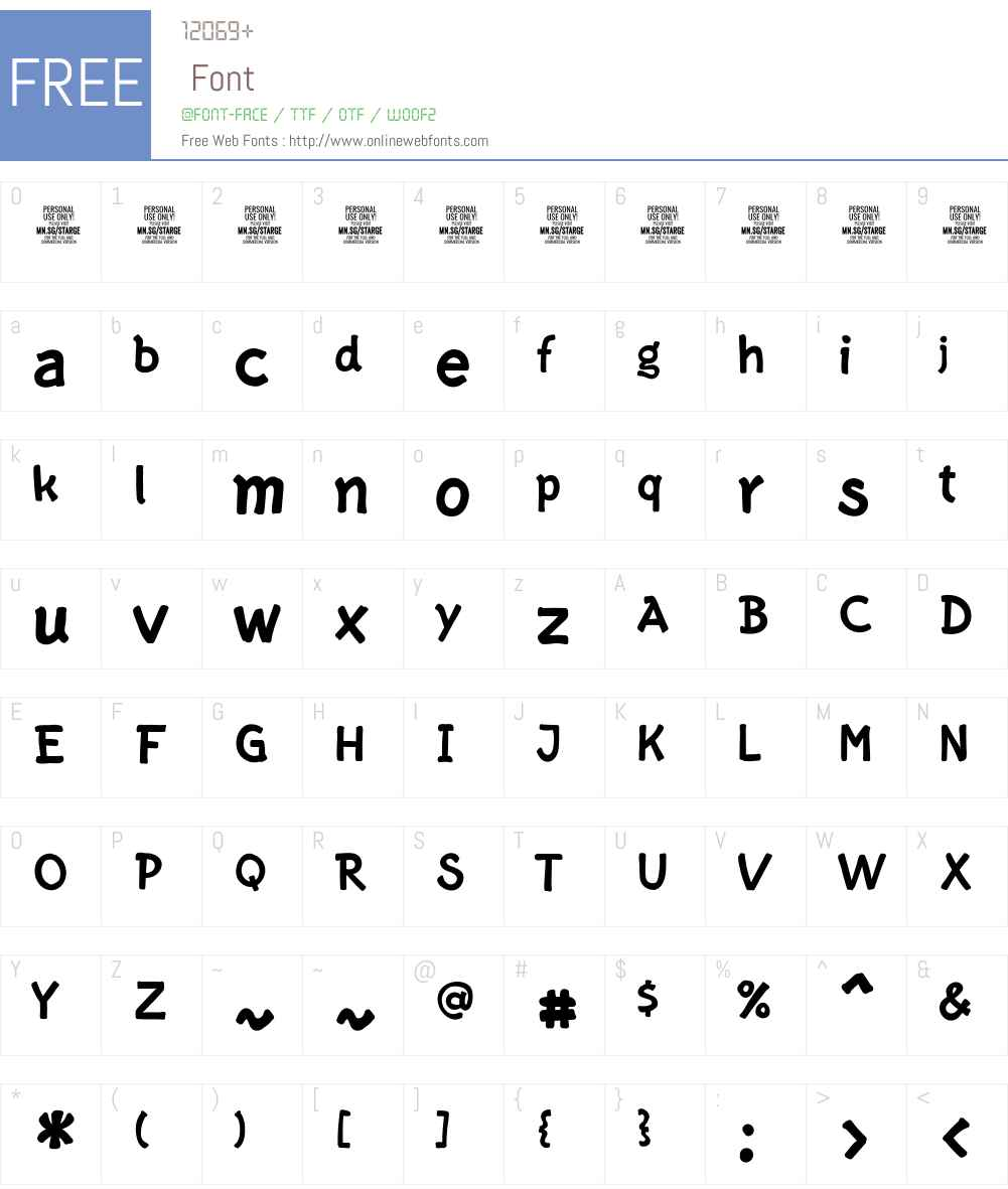 Starge PERSONAL USE ONLY Font Screenshots