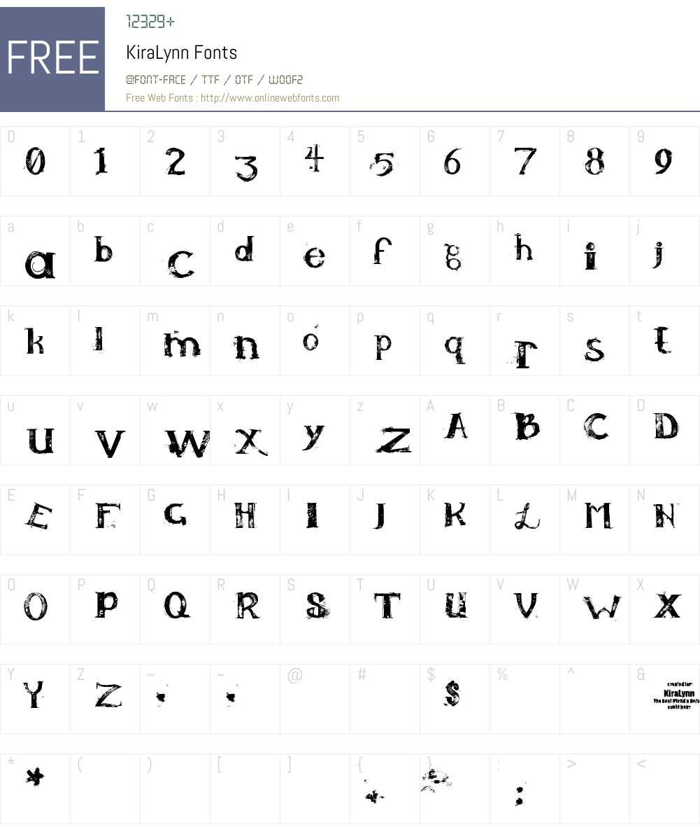 KiraLynn Font Screenshots