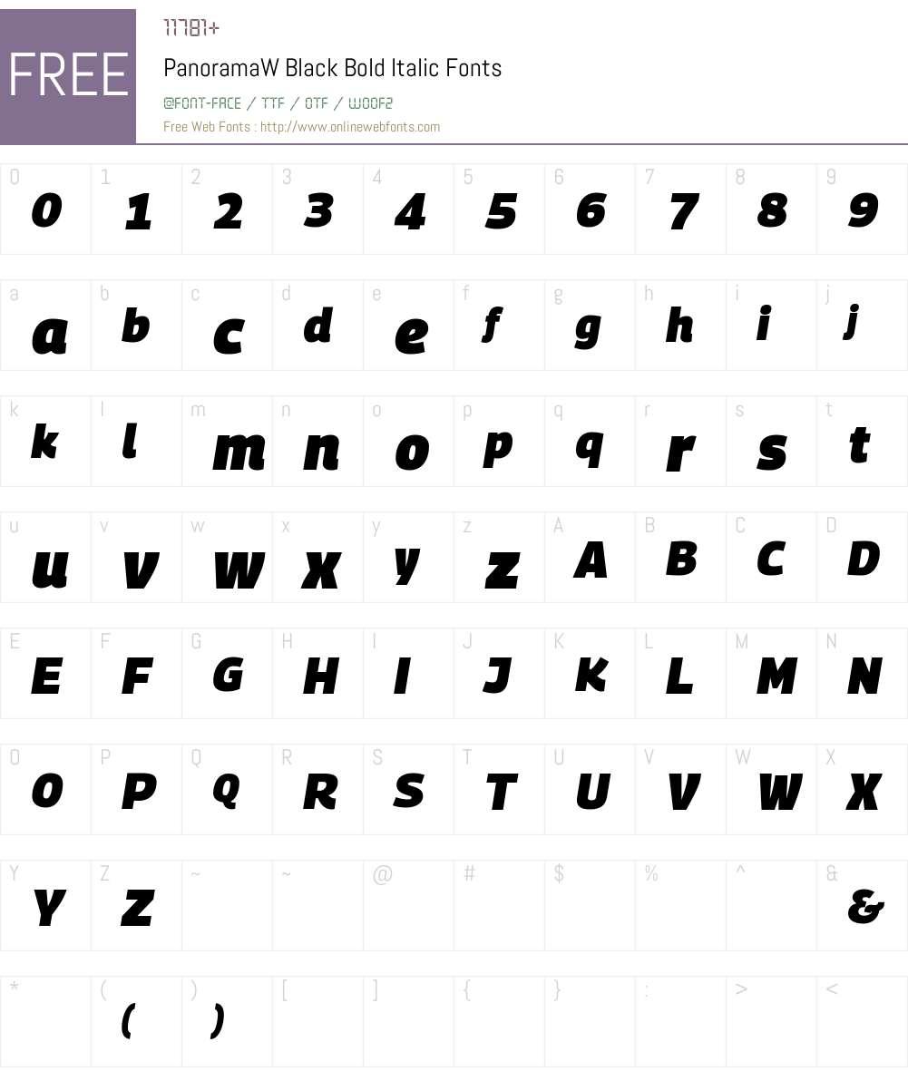 PanoramaW Black Font Screenshots