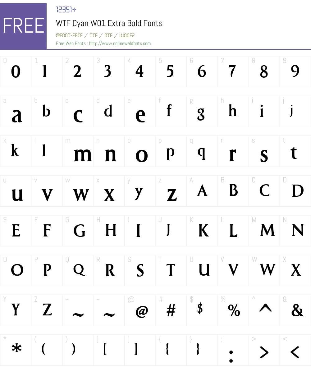 WTFCyanW01-ExtraBold Font Screenshots