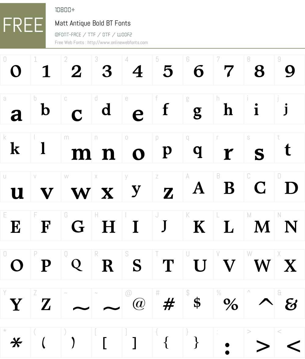 MattAntique BT Font Screenshots