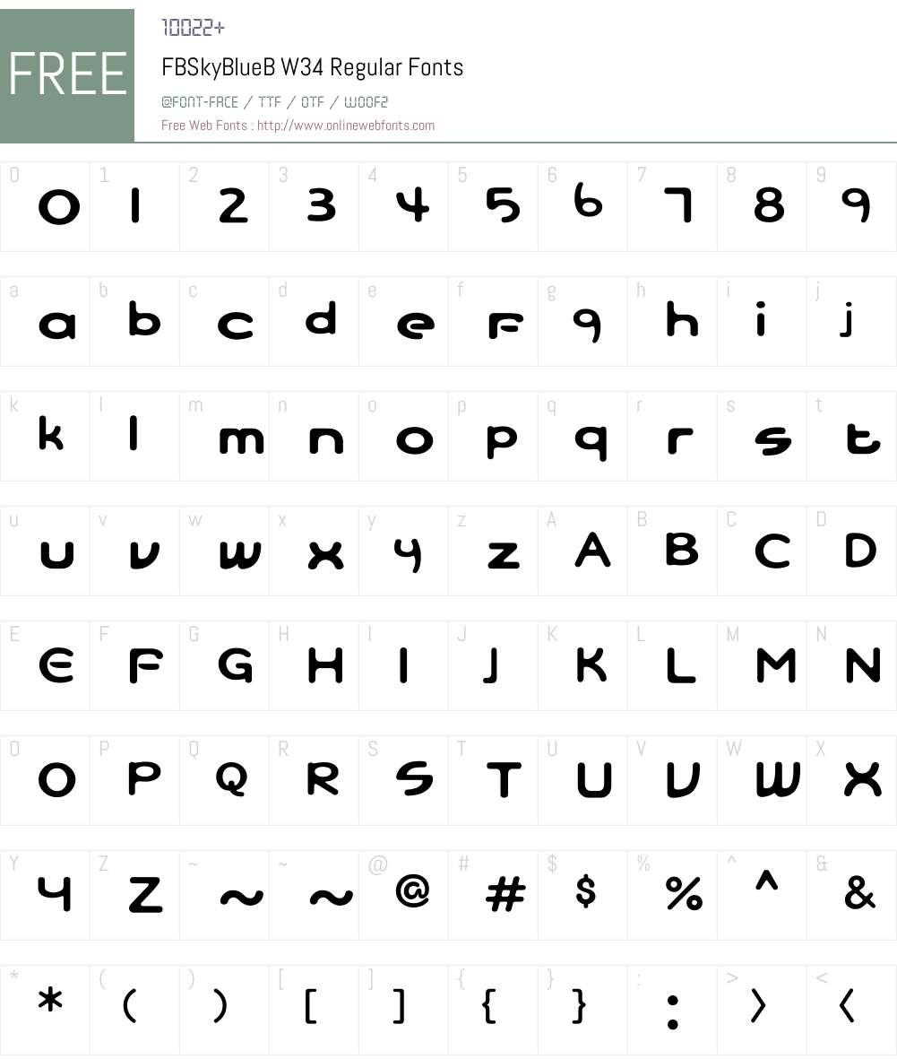 FBSkyBlueBW34-Regular Font Screenshots