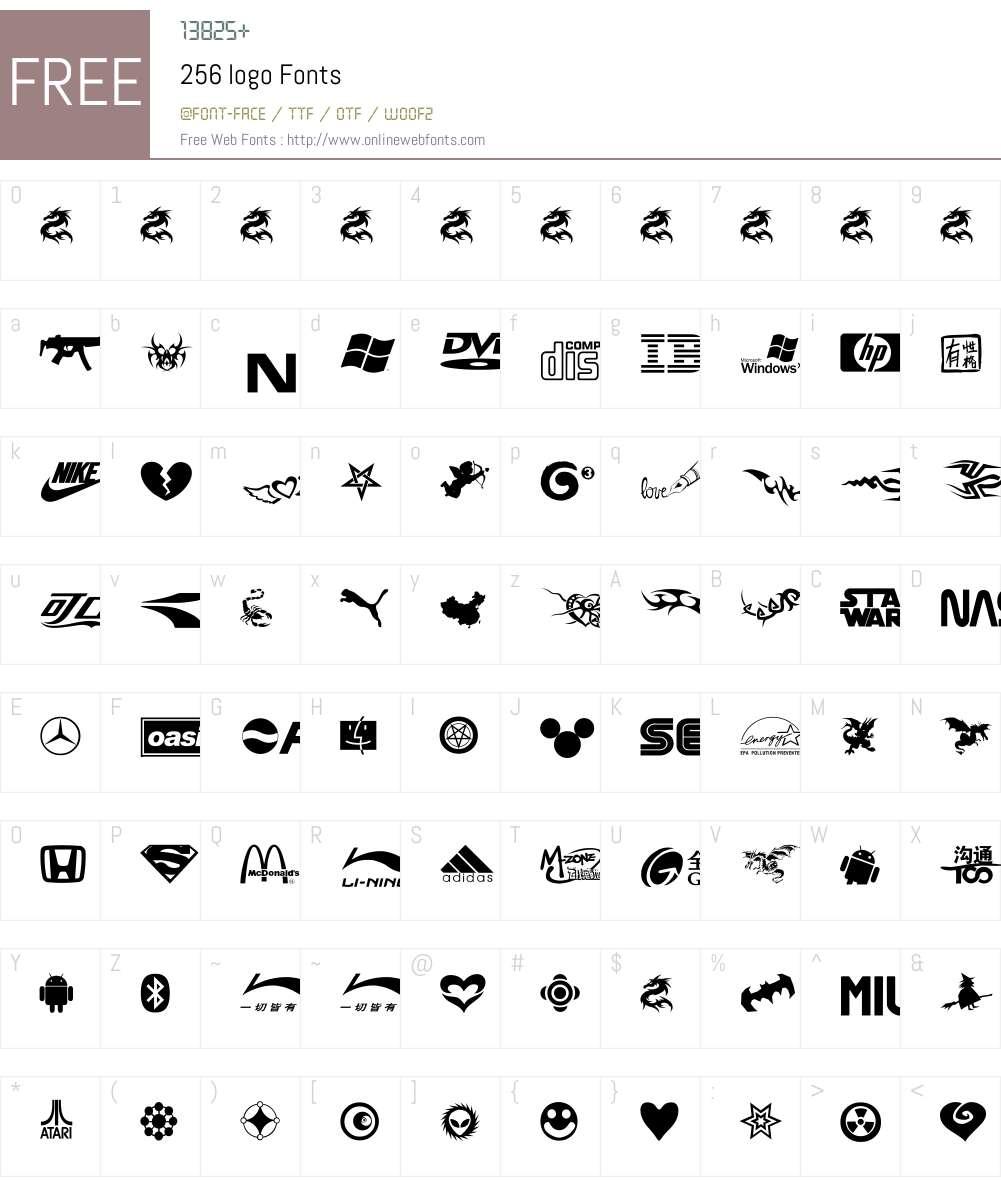 256 logo Font Screenshots