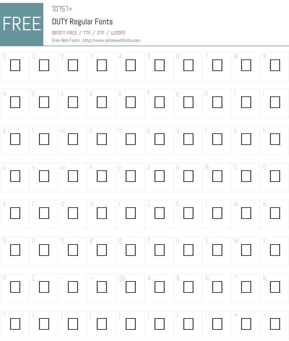 DUTY Font Screenshots