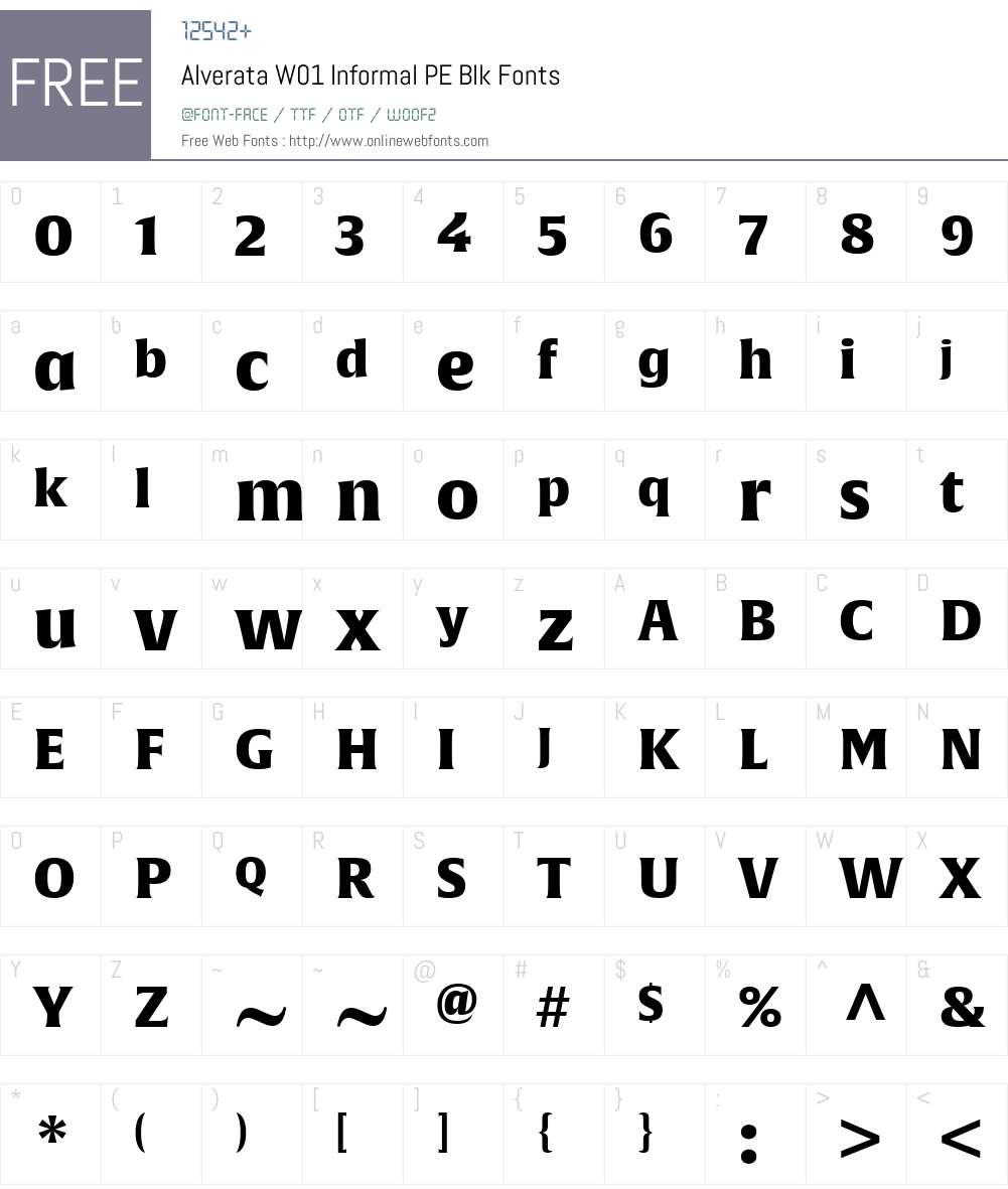 AlverataW01-InformalPEBlk Font Screenshots