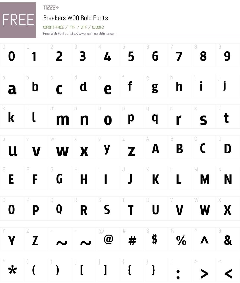 BreakersW00-Bold Font Screenshots