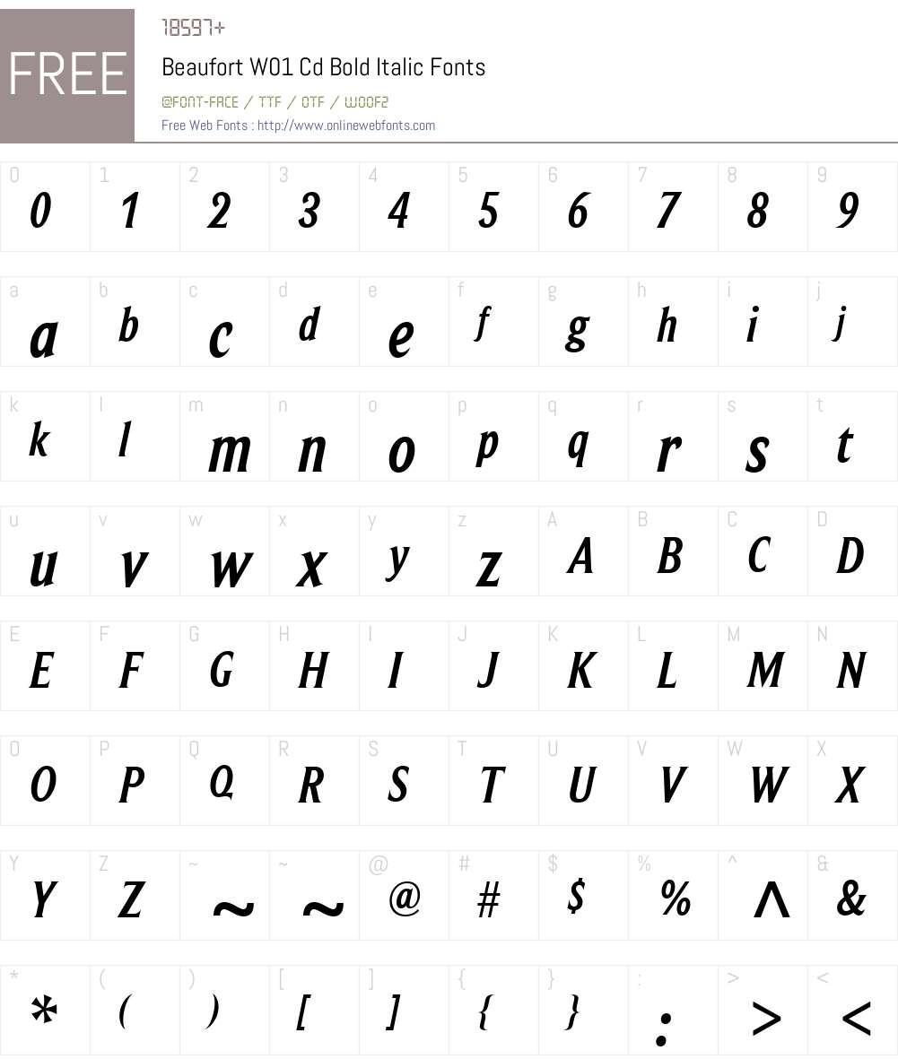 BeaufortW01-CdBoldItalic Font Screenshots