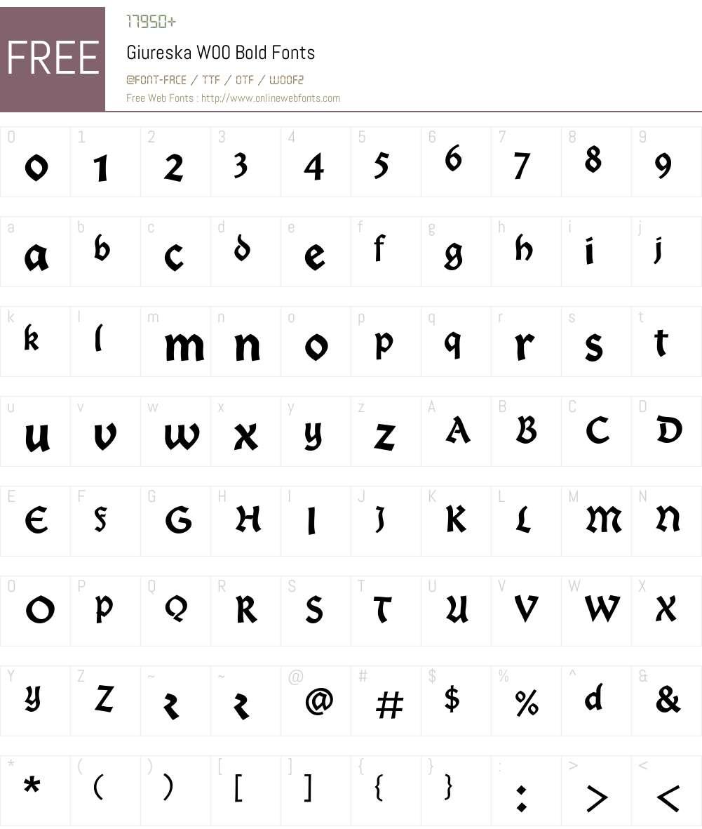 GiureskaW00-Bold Font Screenshots