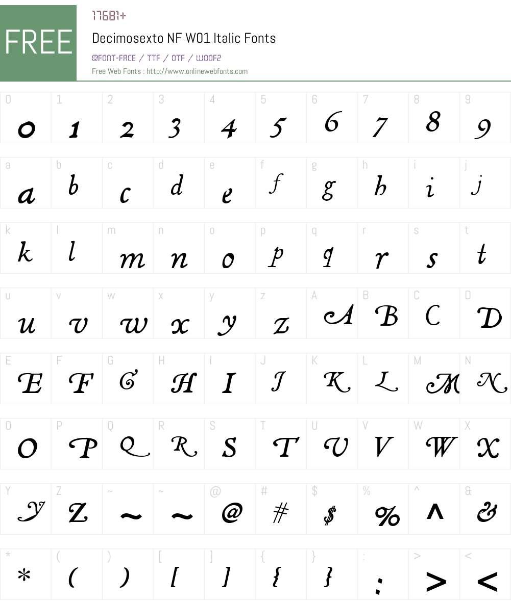 DecimosextoNFW01-Italic Font Screenshots