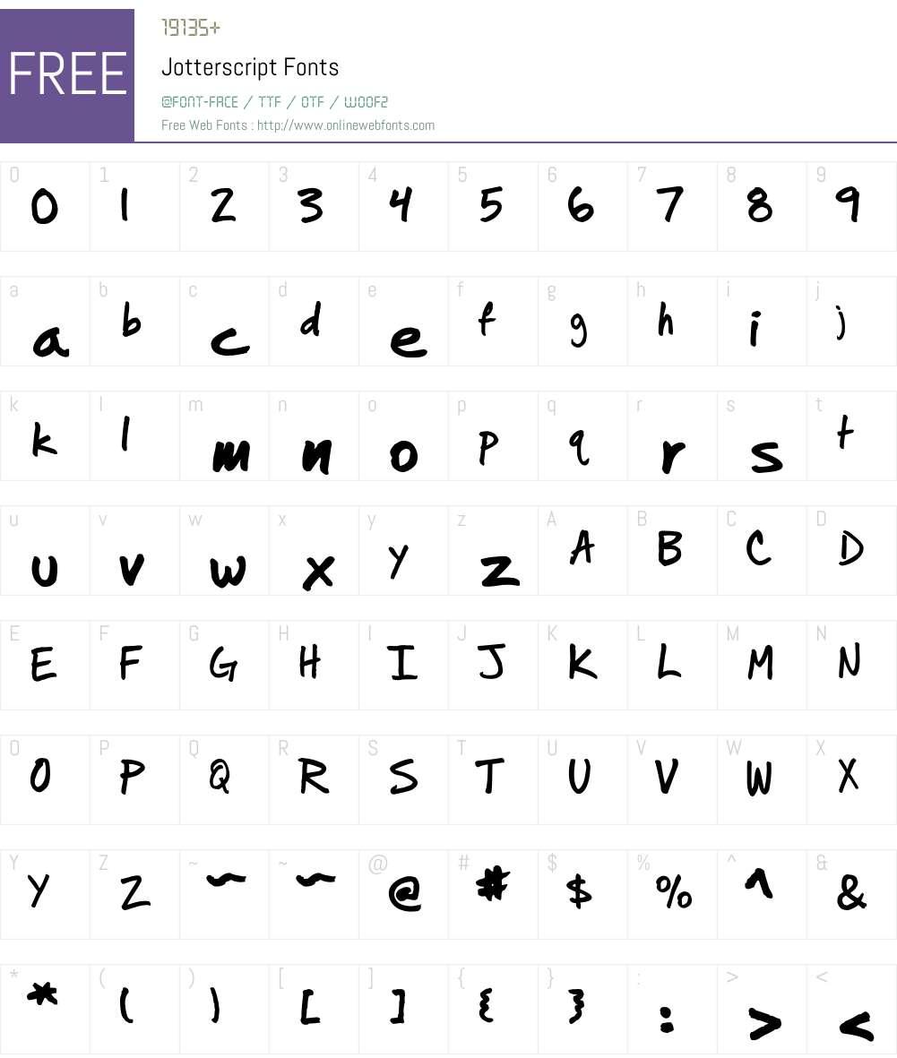 Jotterscript Font Screenshots