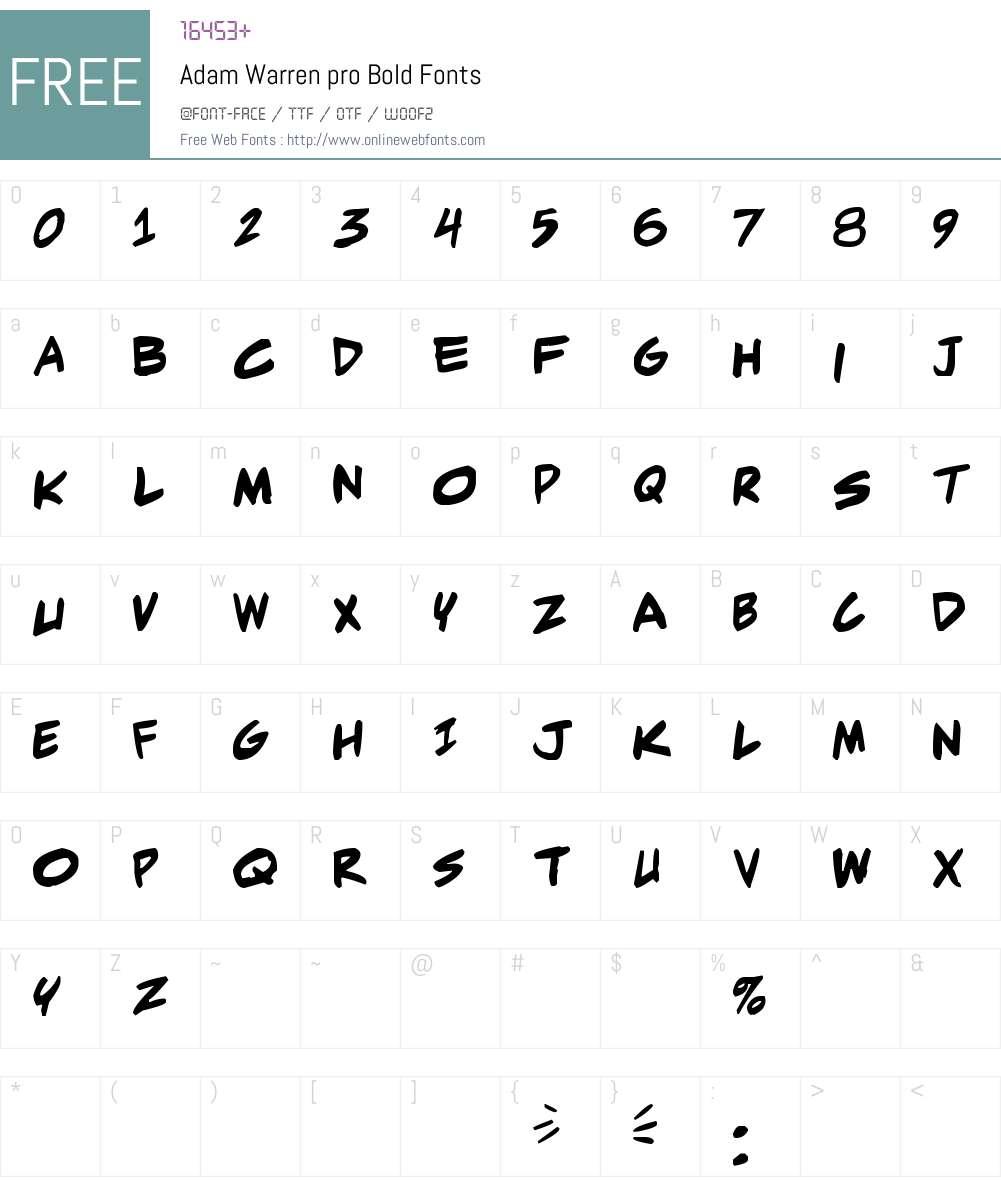 Adam Warren pro Font Screenshots