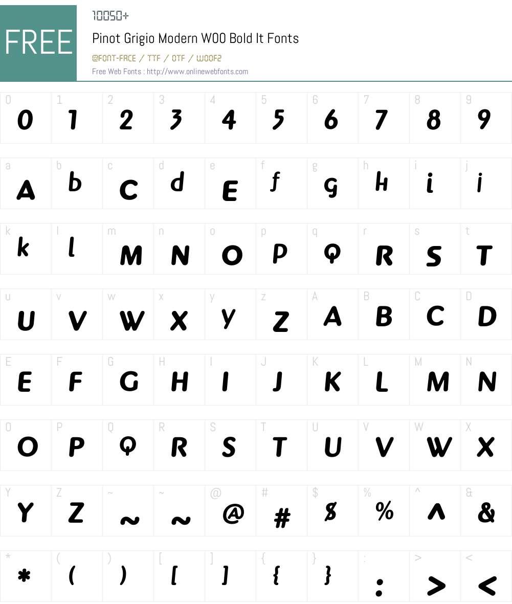 PinotGrigioModernW00-BoldIt Font Screenshots