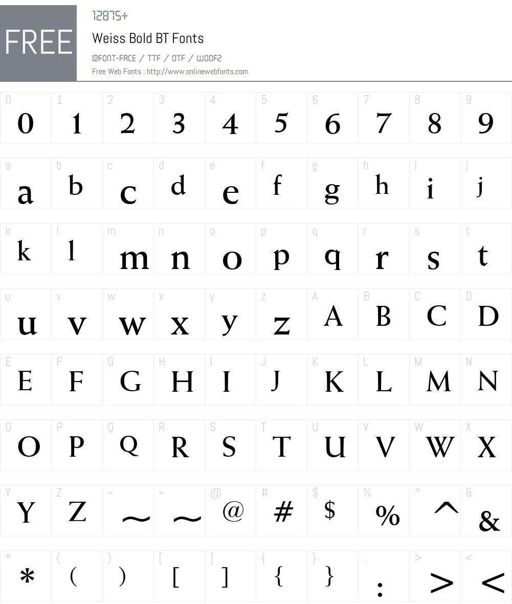 Weiss BT Font Screenshots