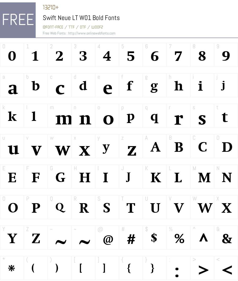 SwiftNeueLTW01-Bold Font Screenshots