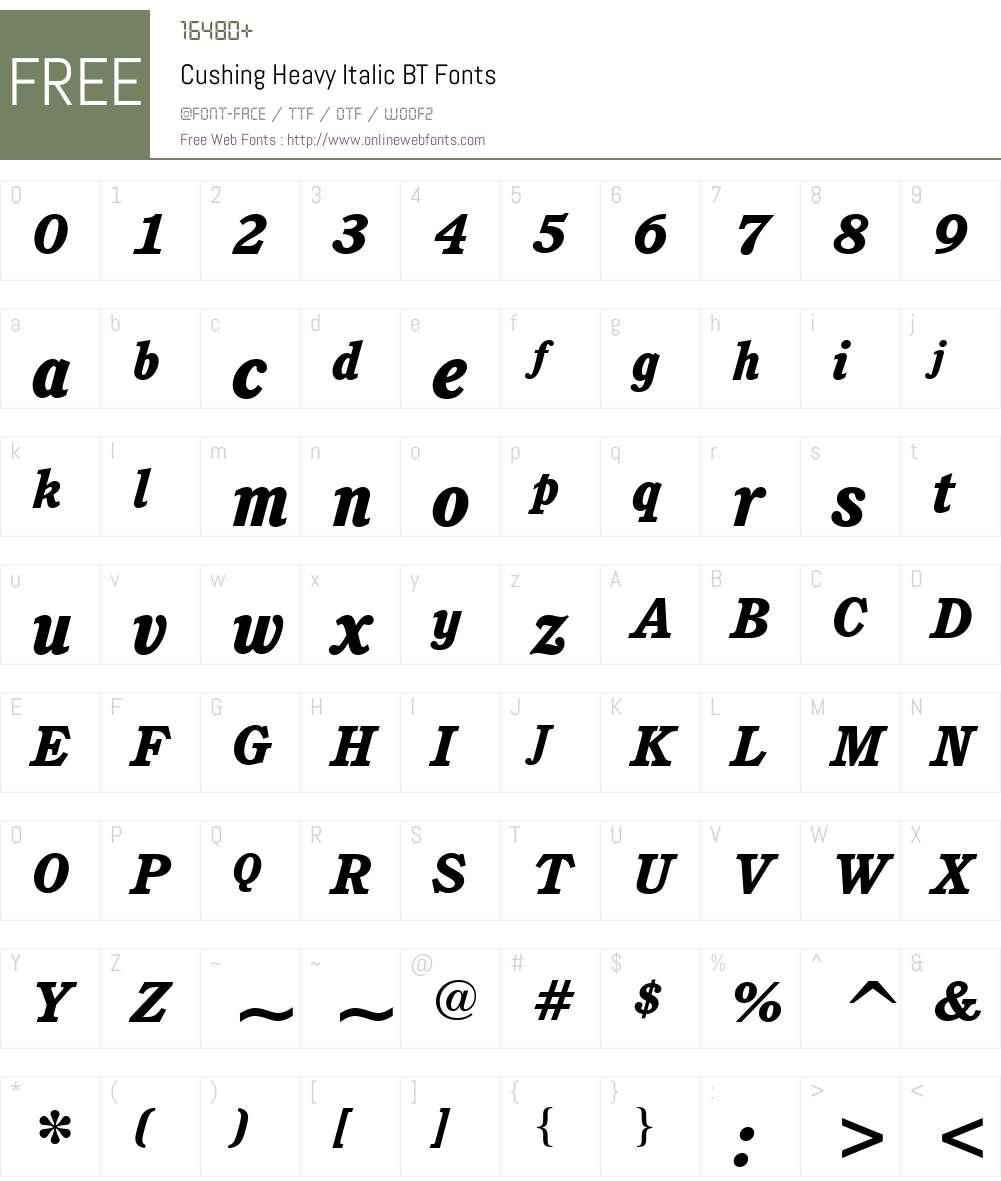 Cushing Hv BT Font Screenshots