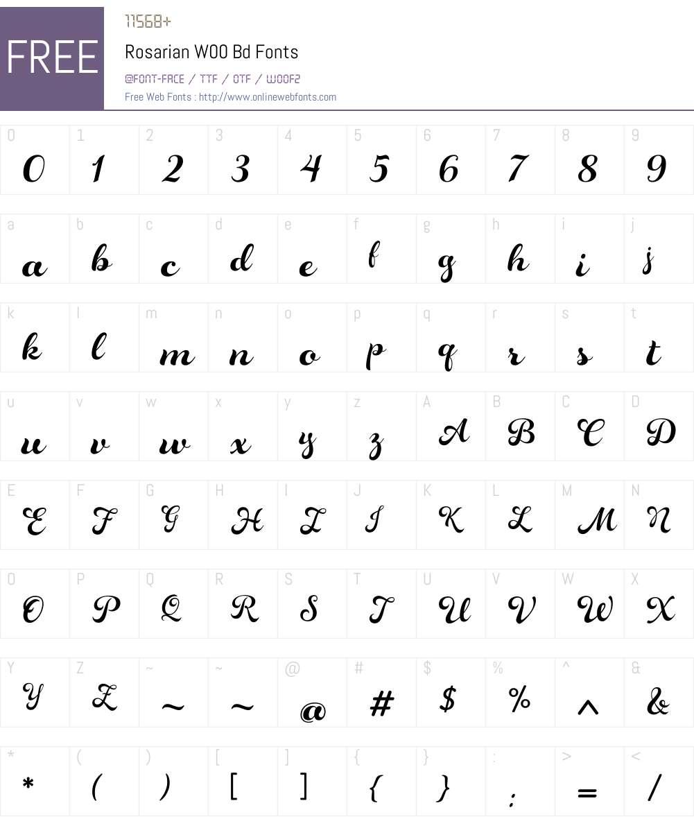 RosarianW00-Bd Font Screenshots