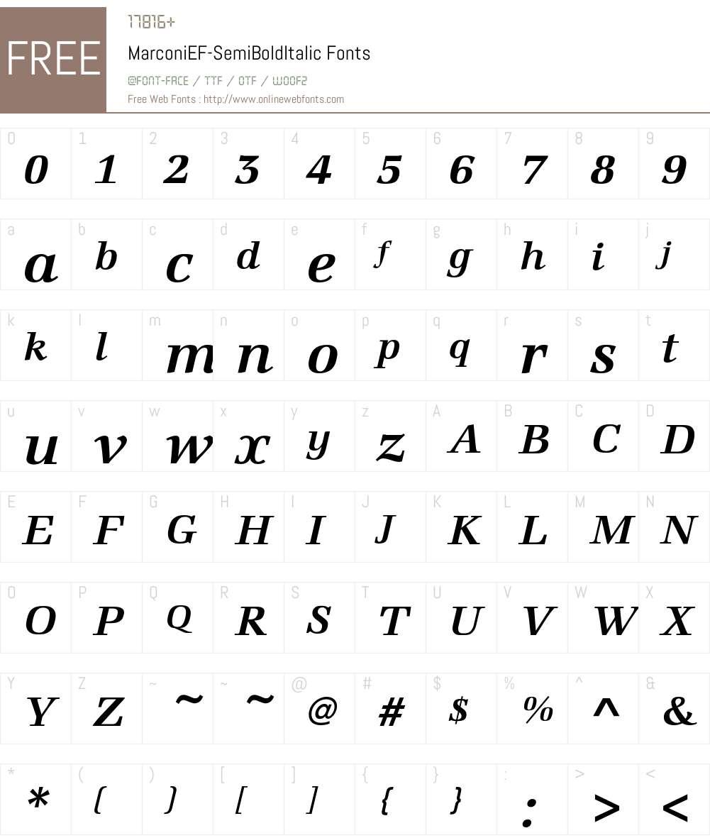 MarconiEF-SemiBoldItalic Font Screenshots