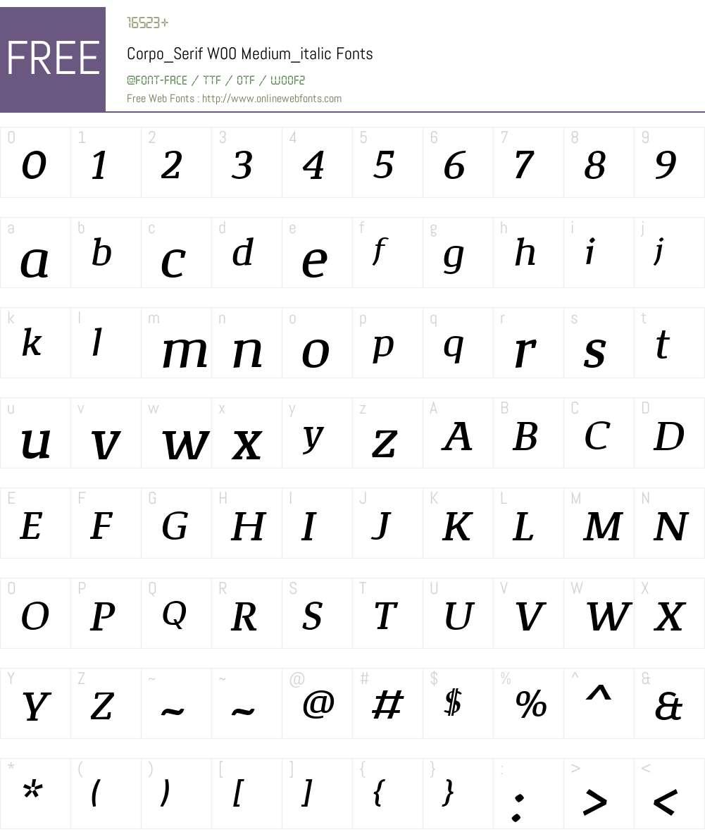 Corpo_SerifW00-Md_italic Font Screenshots