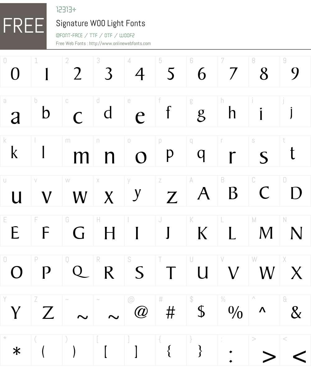SignatureW00-Light Font Screenshots