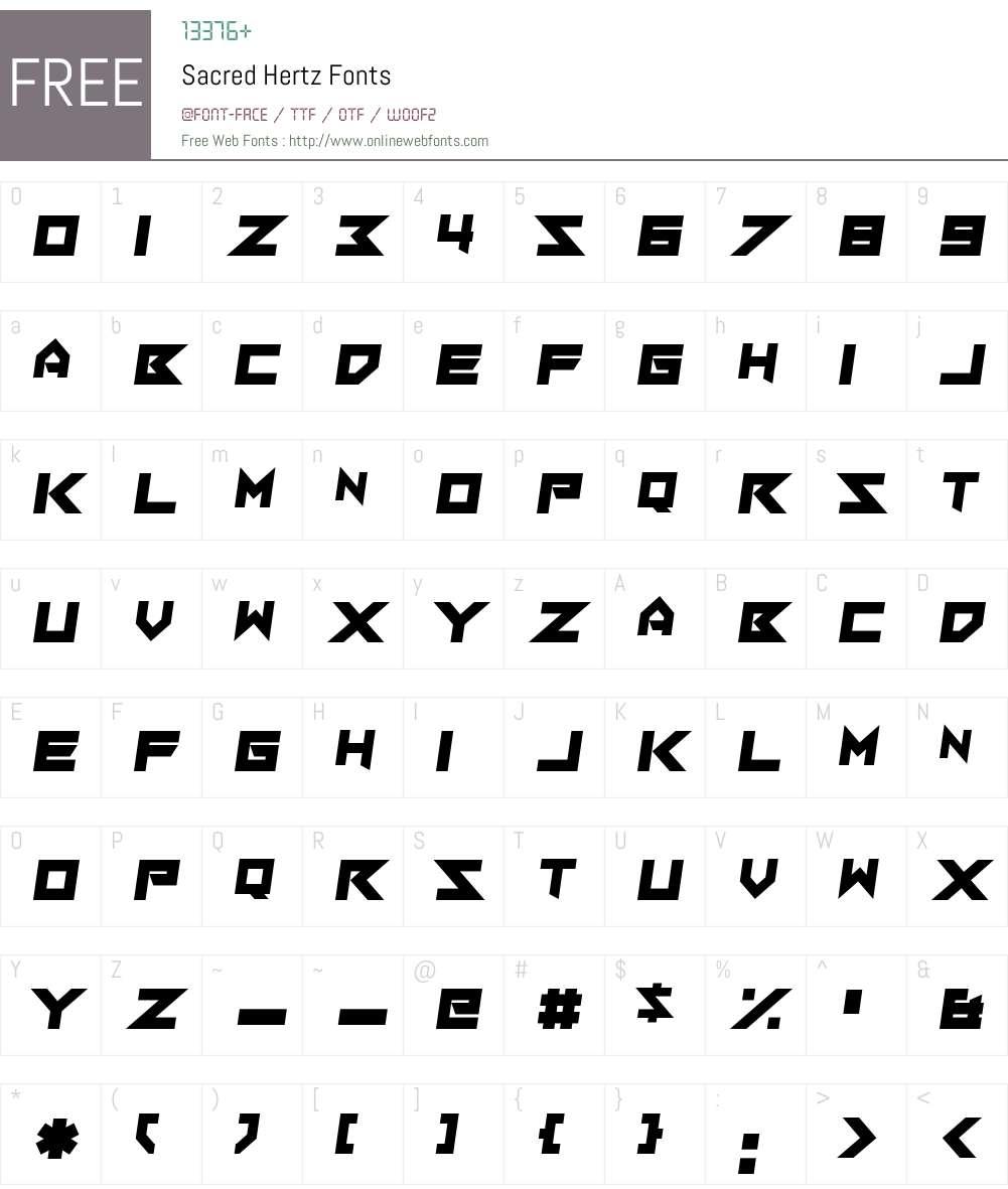 Sacred Hertz Font Screenshots