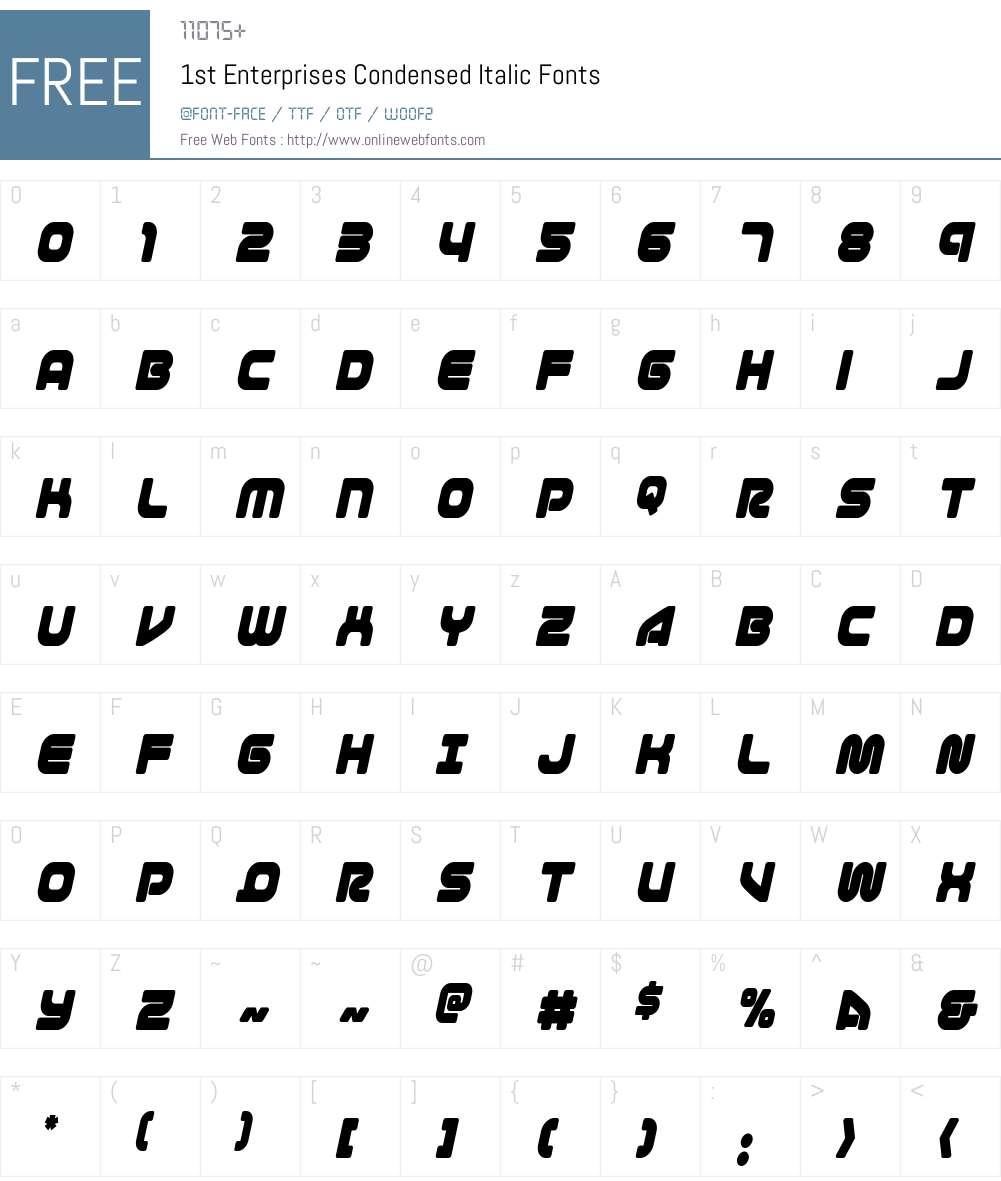 1st Enterprises Condensed Italic Font Screenshots