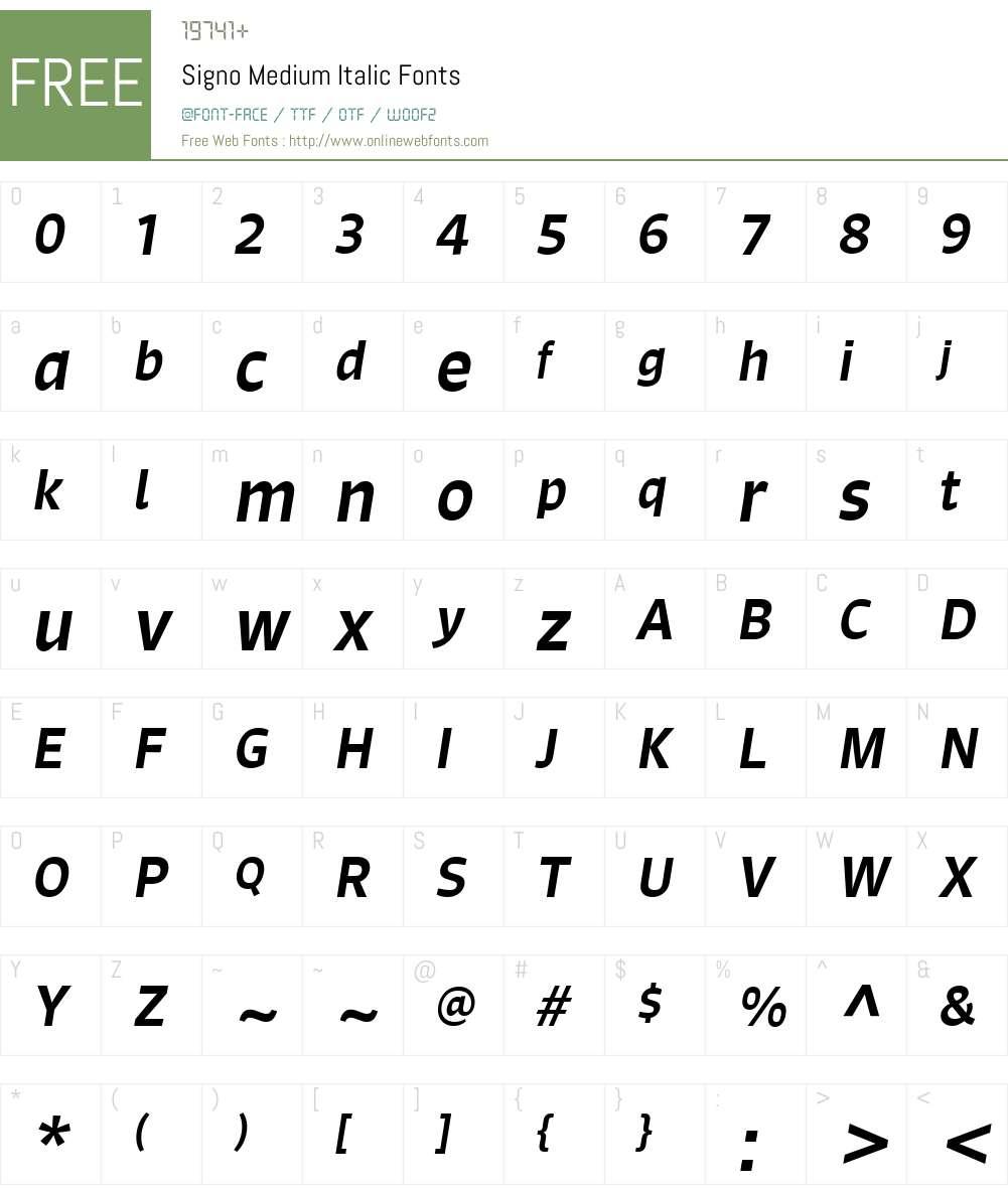 Signo Medium Italic Font Screenshots