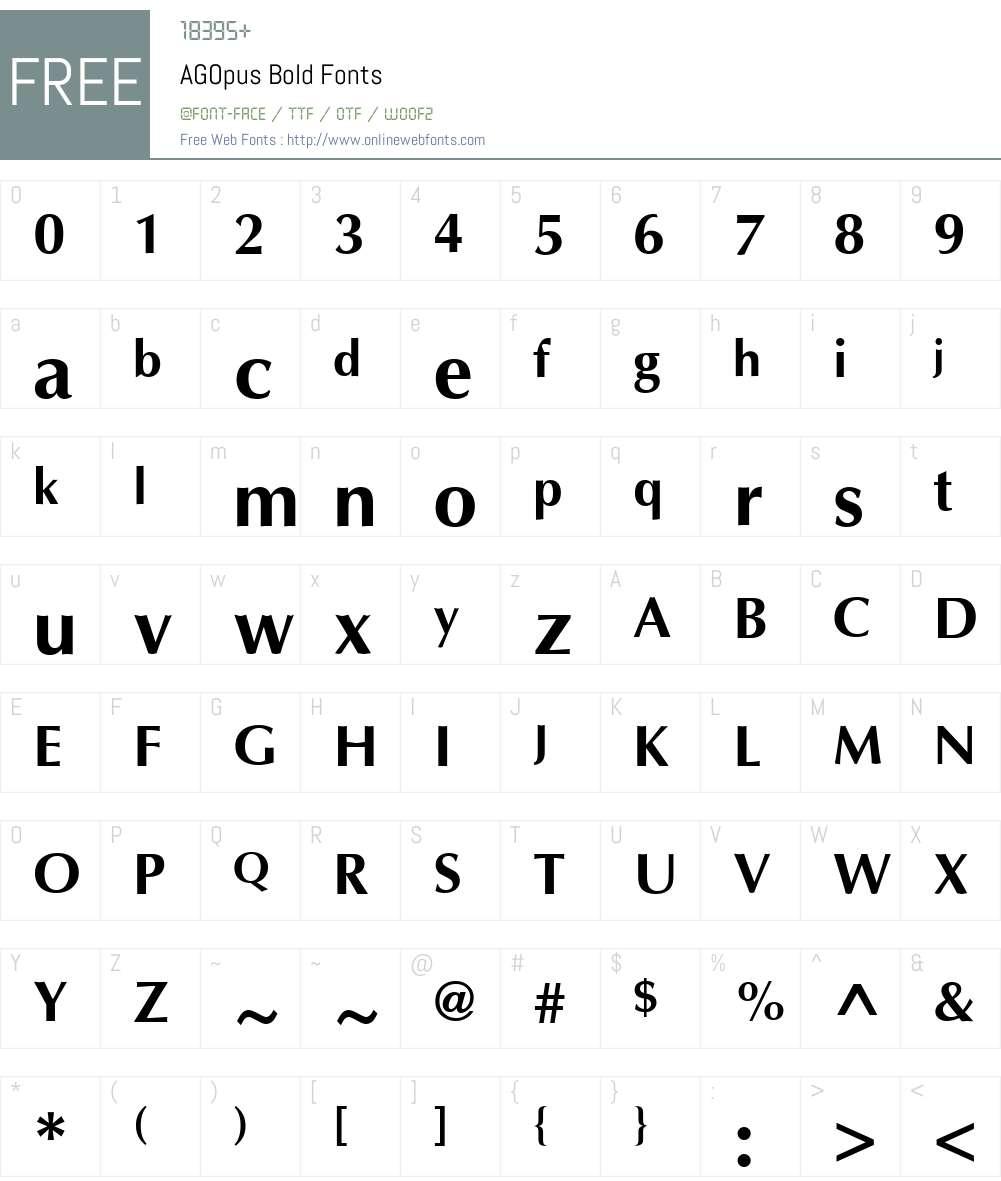AGOpus Font Screenshots