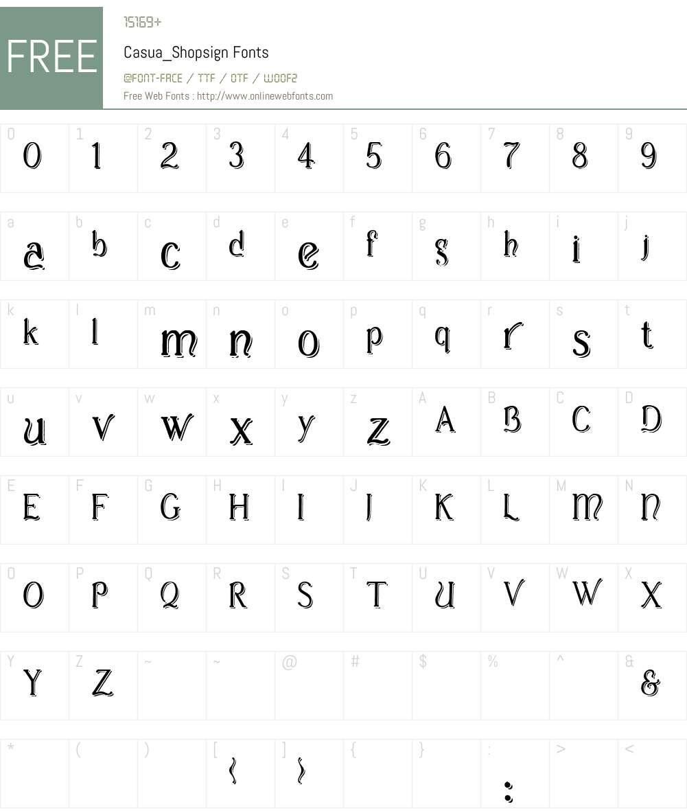 Casua_Shopsign Font Screenshots