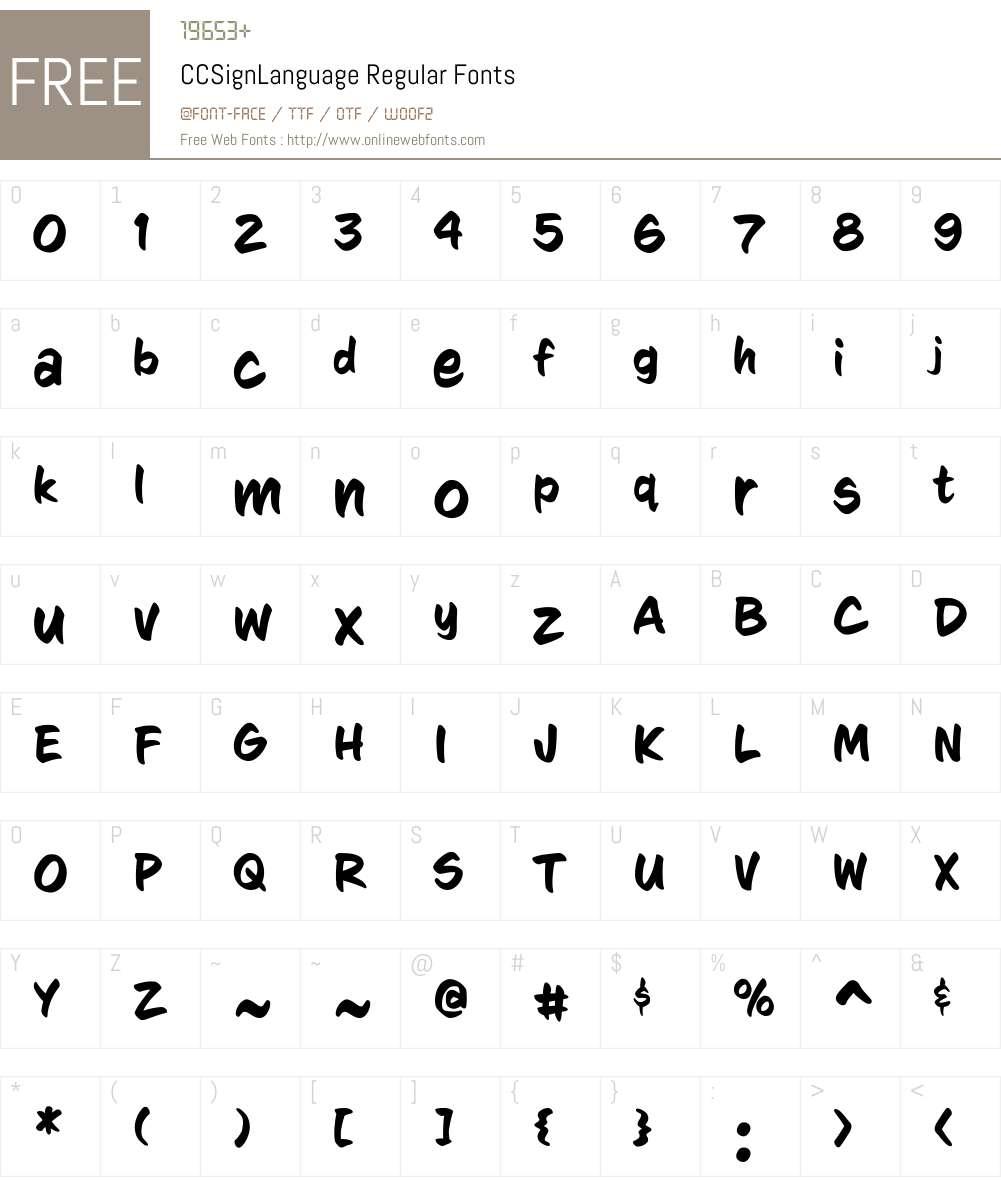 CCSignLanguage-Regular Font Screenshots