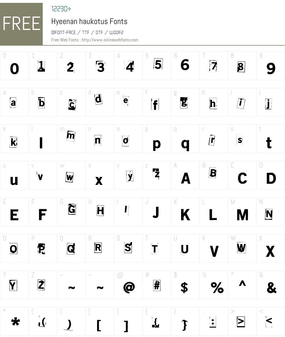 Hyeenan haukotus Font Screenshots