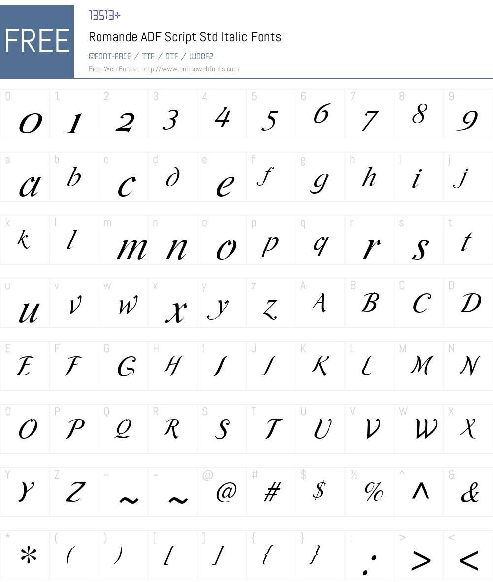Romande ADF Script Std Font Screenshots
