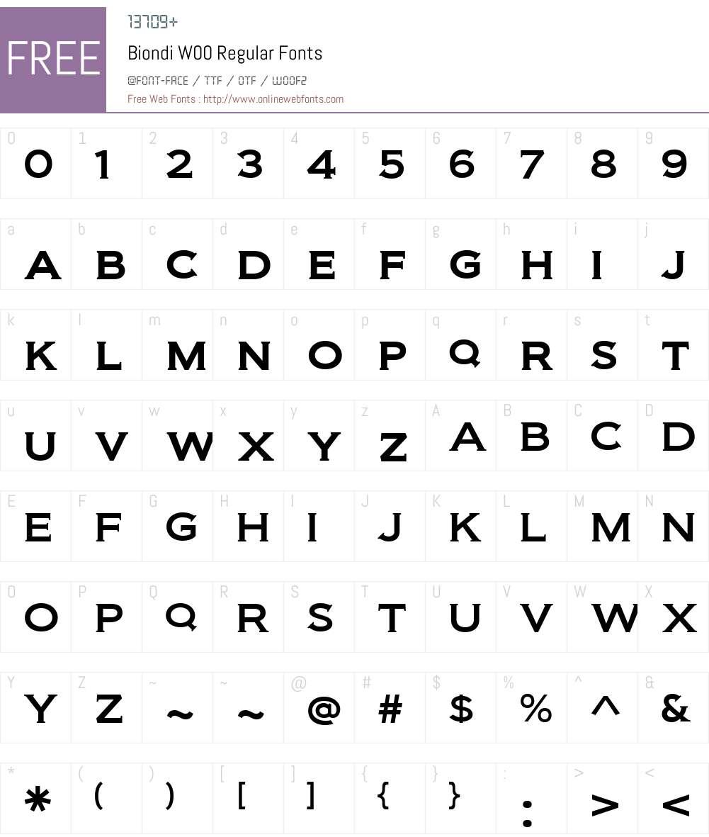 BiondiW00-Regular Font Screenshots