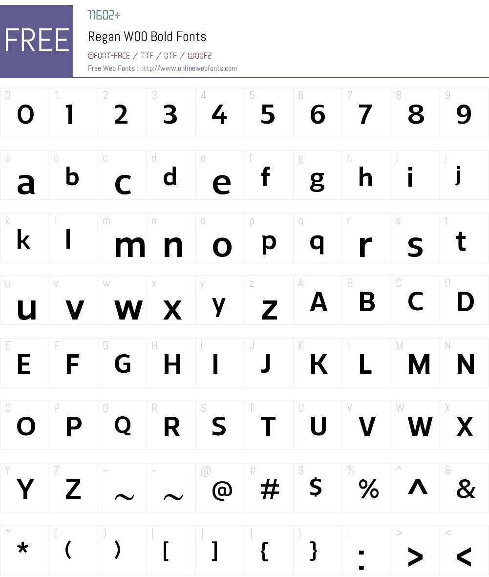 ReganW00-Bold Font Screenshots