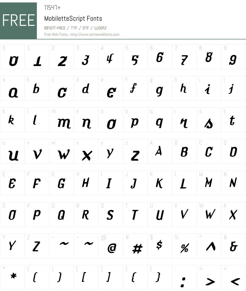 MobiletteW00-Script Font Screenshots