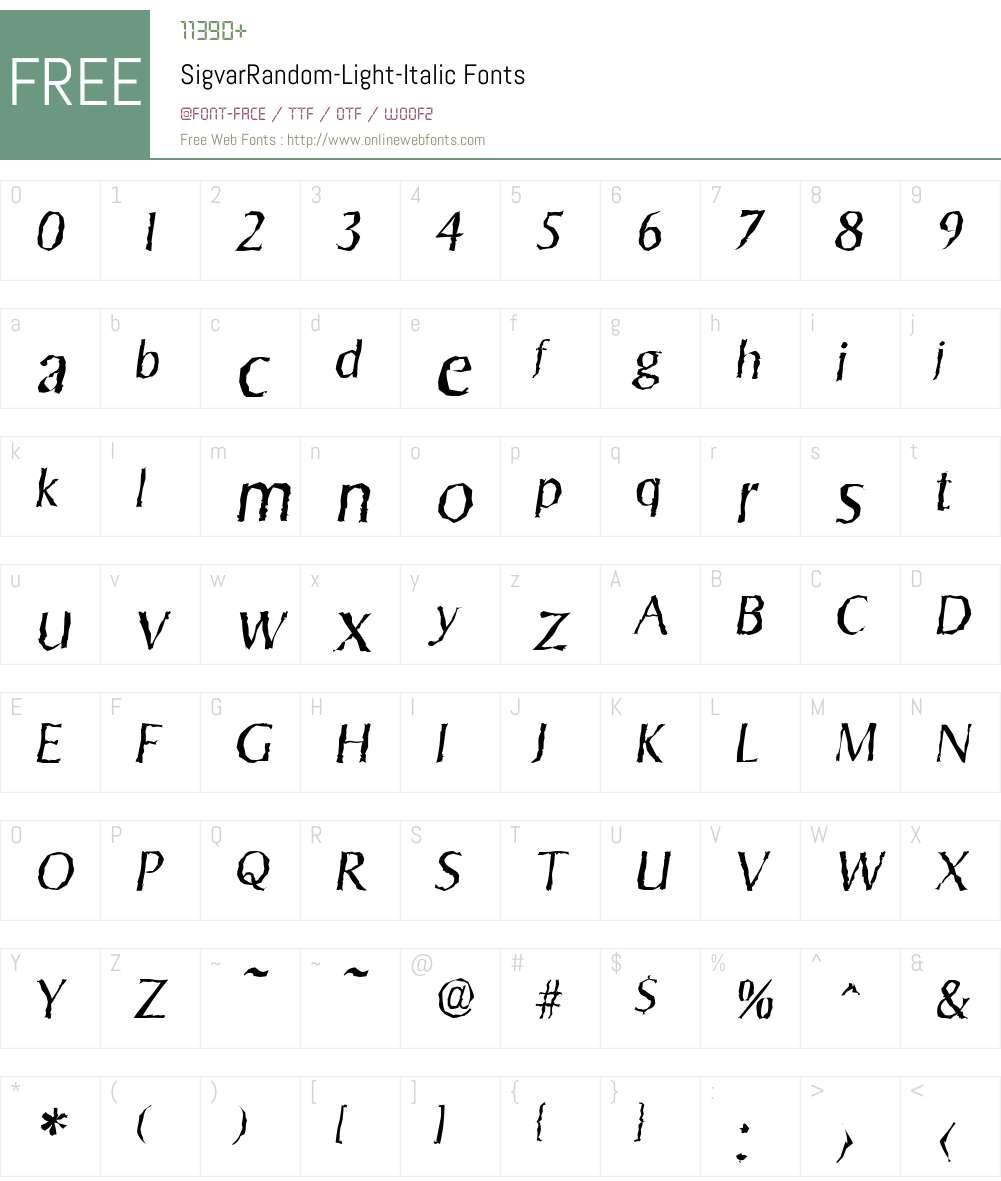 SigvarRandom-Light Font Screenshots
