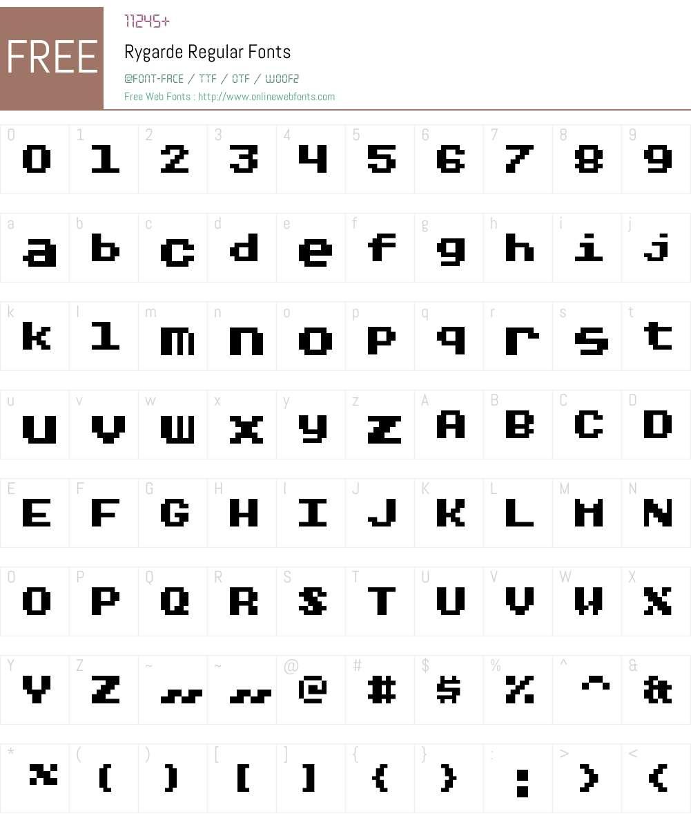 Rygarde Font Screenshots