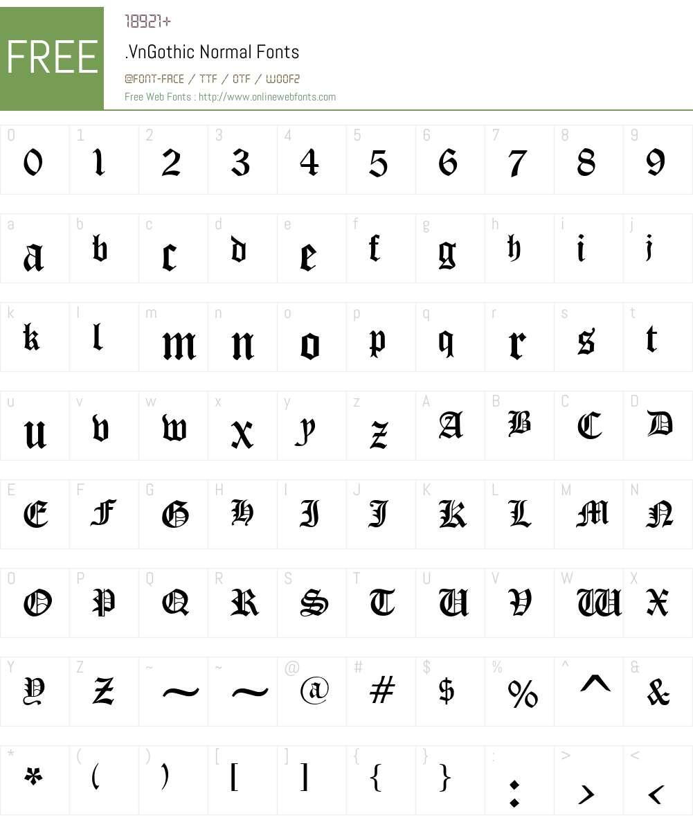 .VnGothic Font Screenshots
