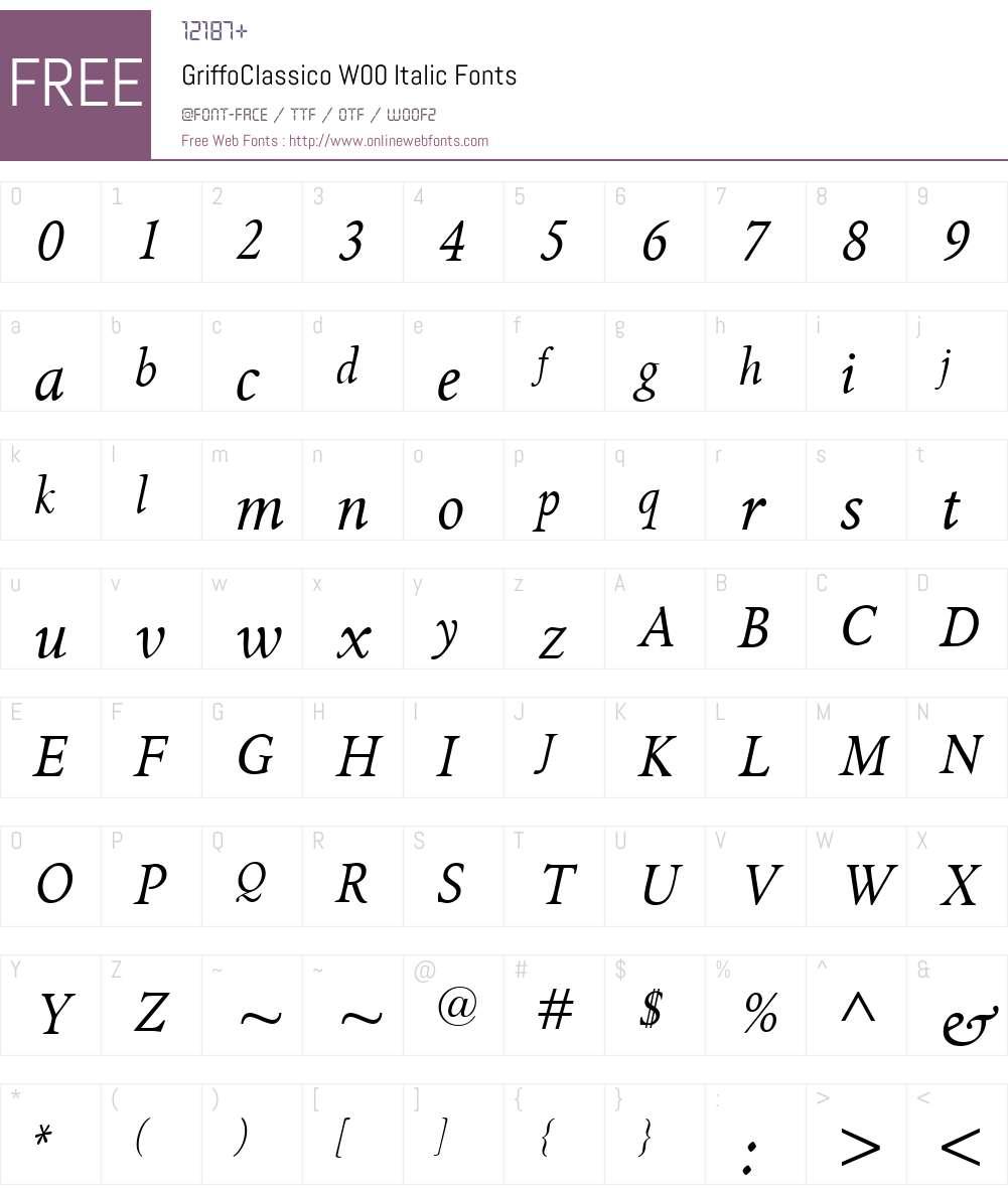 GriffoClassicoW00-Italic Font Screenshots