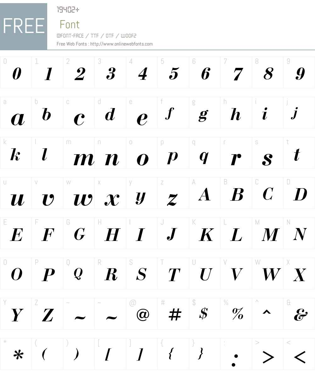 BodoniC Font Screenshots