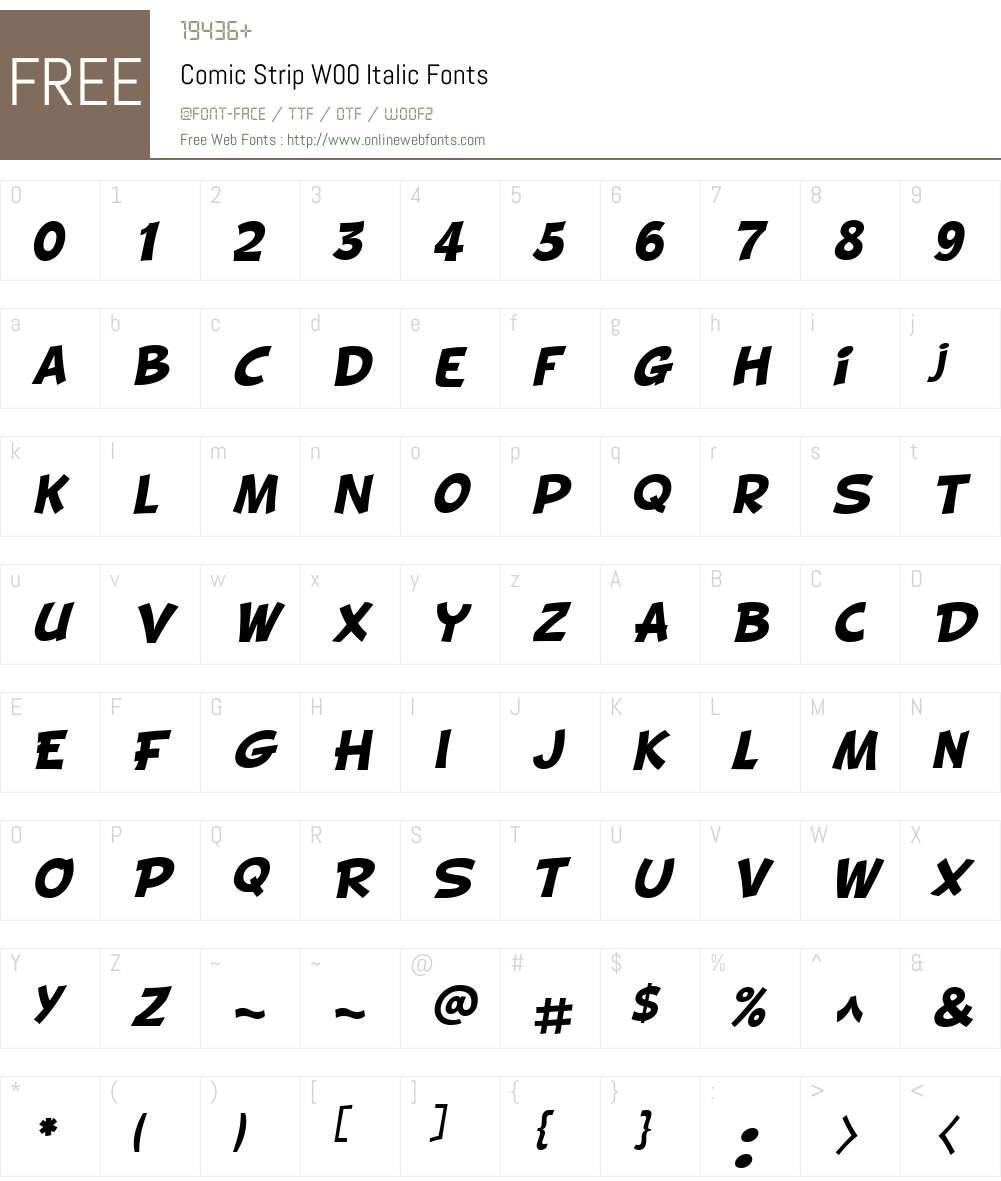 ComicStripW00-Italic Font Screenshots