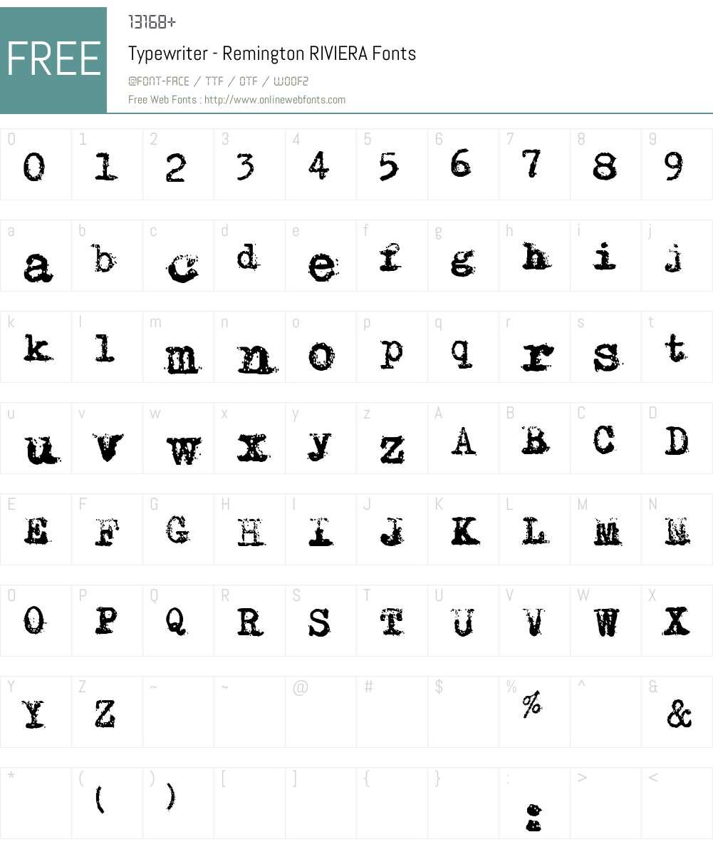 Typewriter - Remington RIVIERA Font Screenshots