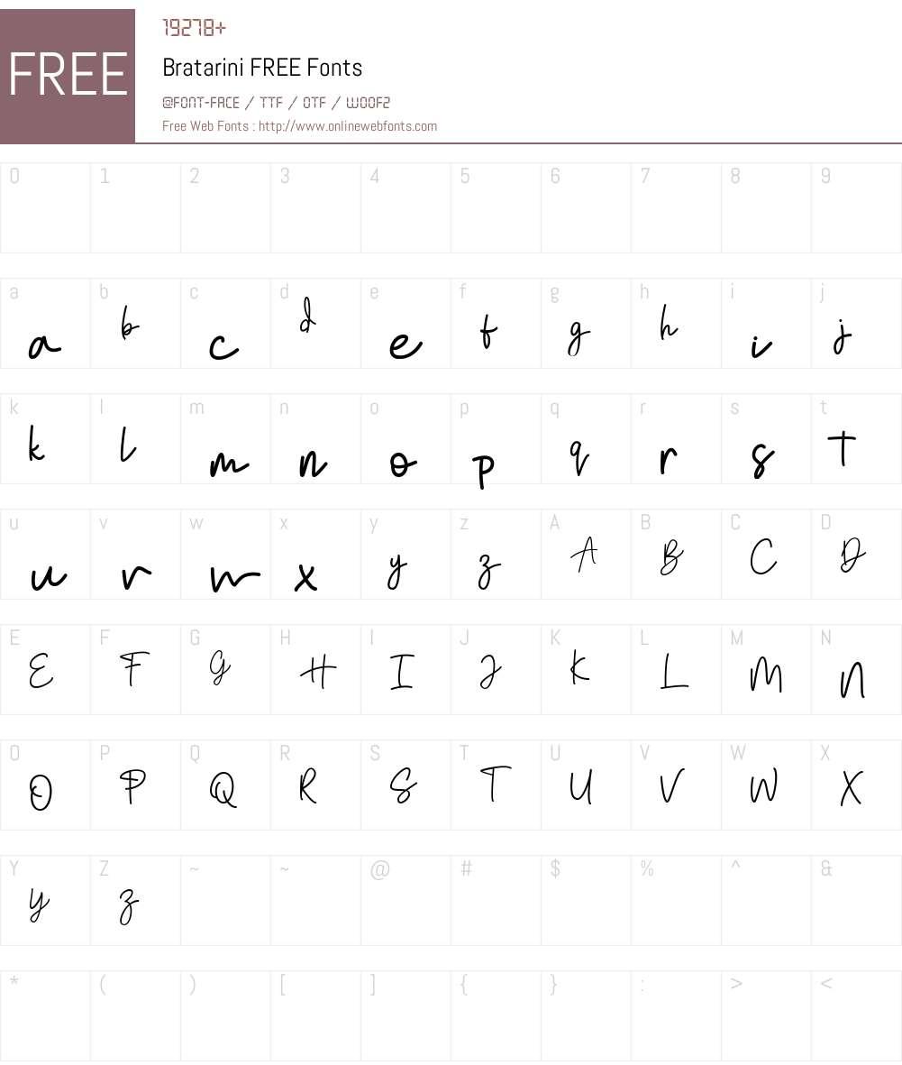 Bratarini FREE Font Screenshots