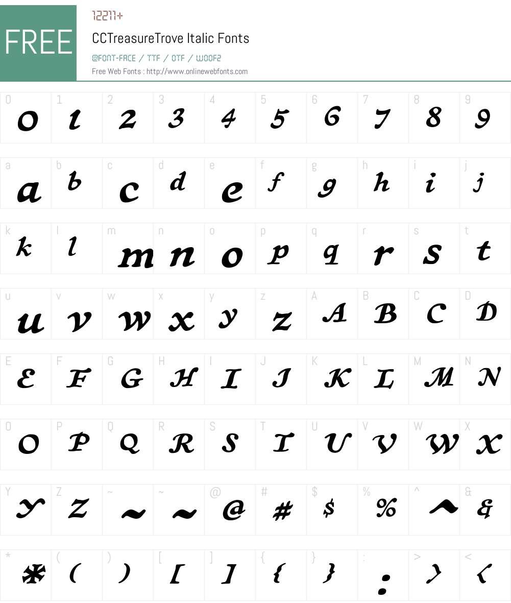 CCTreasureTrove-Italic Font Screenshots