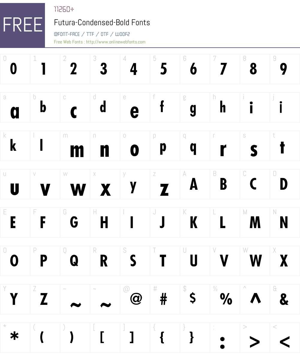 Futura-Condensed-Bold Font Screenshots