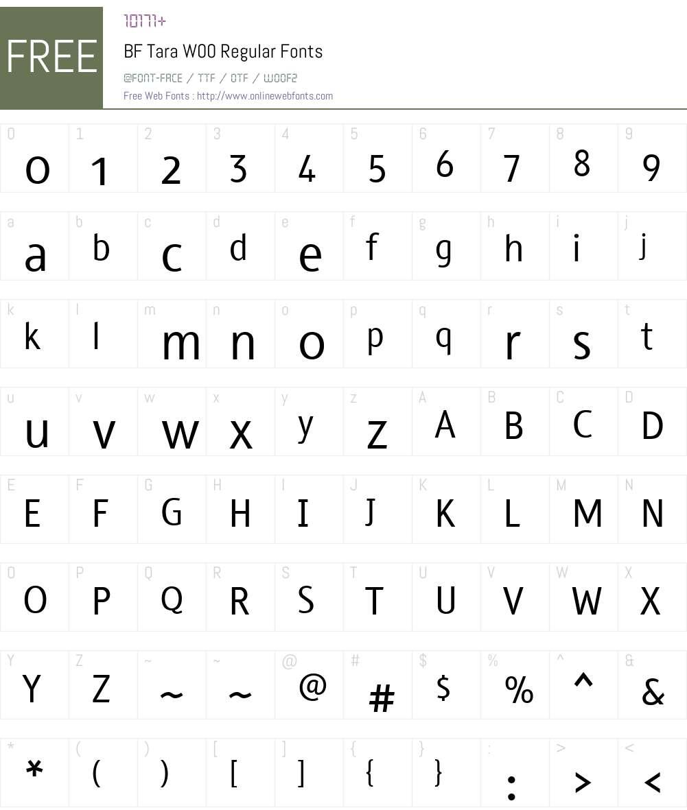 BFTaraW00-Regular Font Screenshots