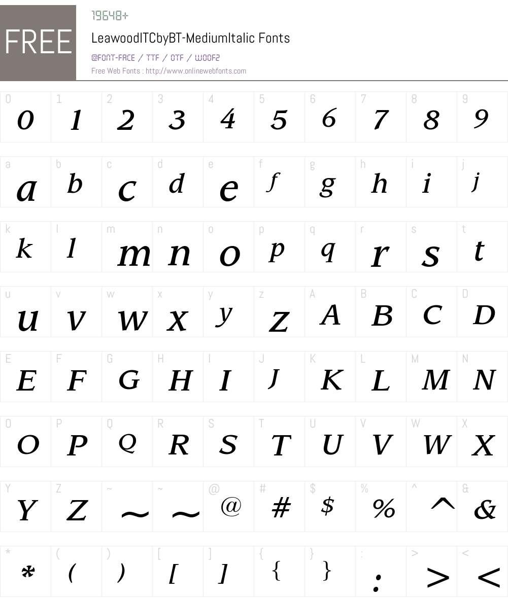 ITC Leawood Font Screenshots