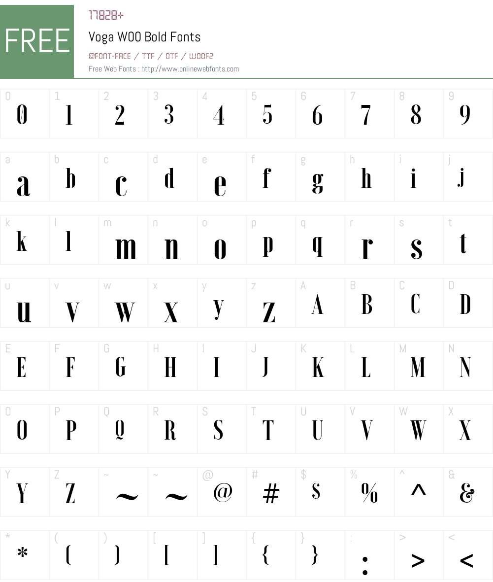 VogaW00-Bold Font Screenshots